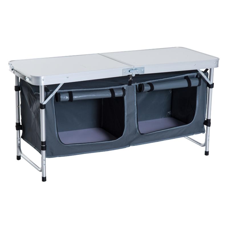 Outsunny Adjustable Aluminum Picnic Table-Pebbles White