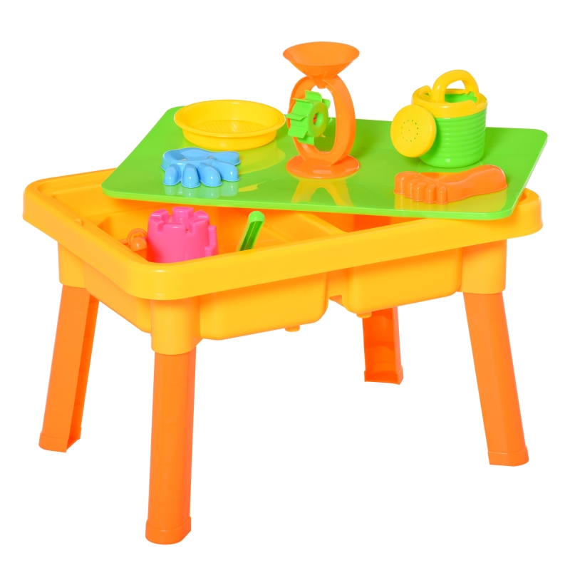 HOMCOM Sand and Water Table 16 pcs Beach Toy Set 2 in 1 Outdoor Activities Playset
