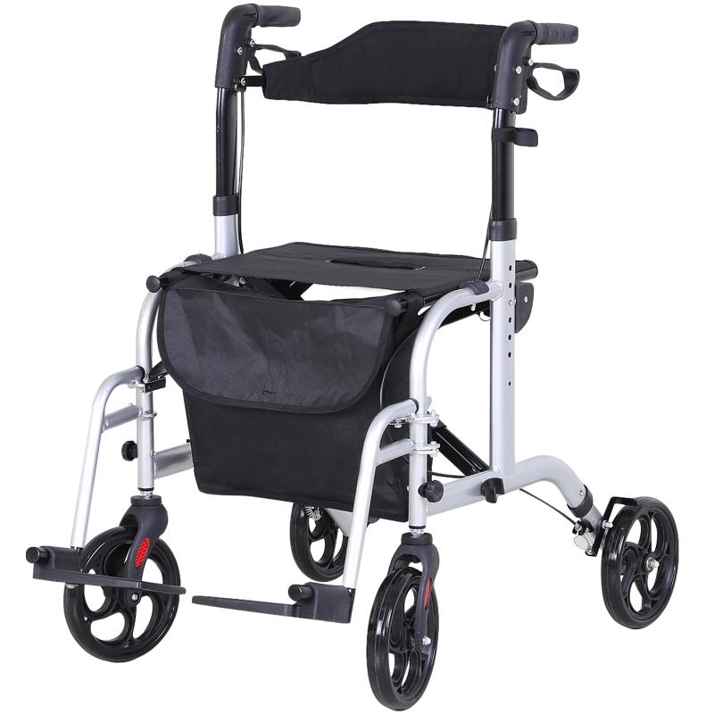 2-in-1 rollator rolstoel aluminium transportstoel loophulp in hoogte verstelbaar, inklapbaar
