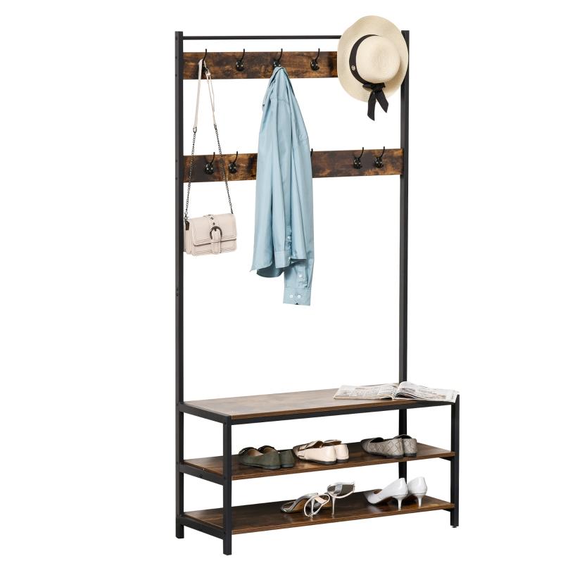 Garderobestandaard met 12 haken en schoenenrek kapstok staal bruin