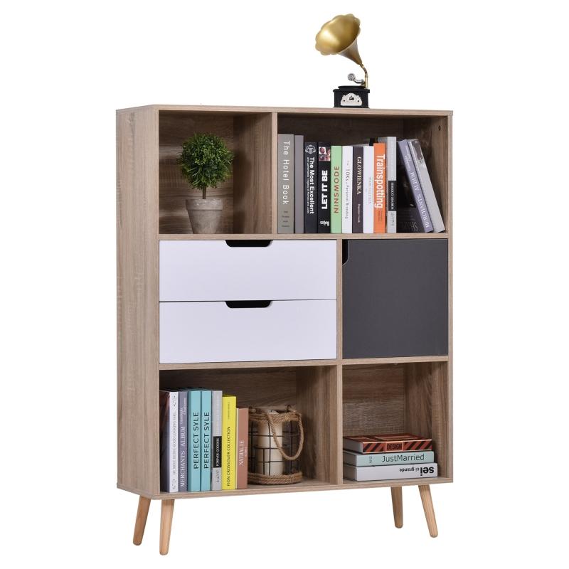 HOMCOM boekenkast dressoir keukenkast met 4 planken 2 schuiflades 1 deurkast