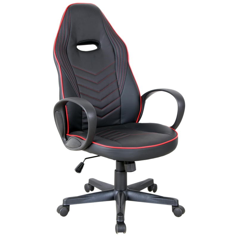 Vinsetto Executive PU Leather Office Gaming Chair Adjustable Height Padded Seat w/ Wheels Red