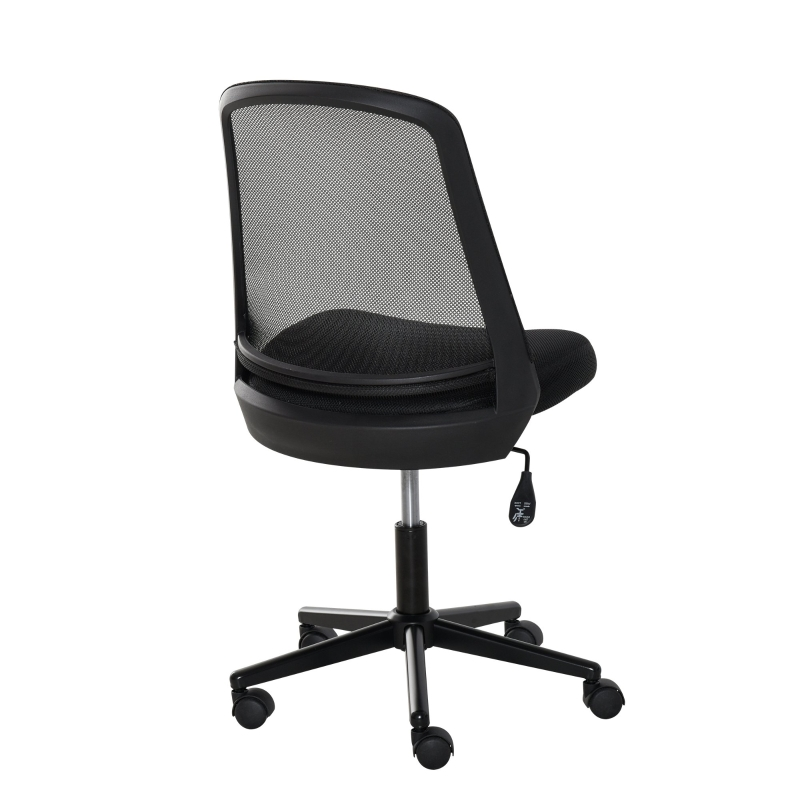 Vinsetto Leisure Office Chair Mesh Fabric Computer Home Study Armless with Wheels, Black