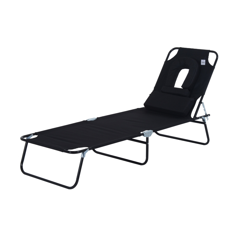 Outsunny Adjustable Sun Lounger W/Pillow-Black