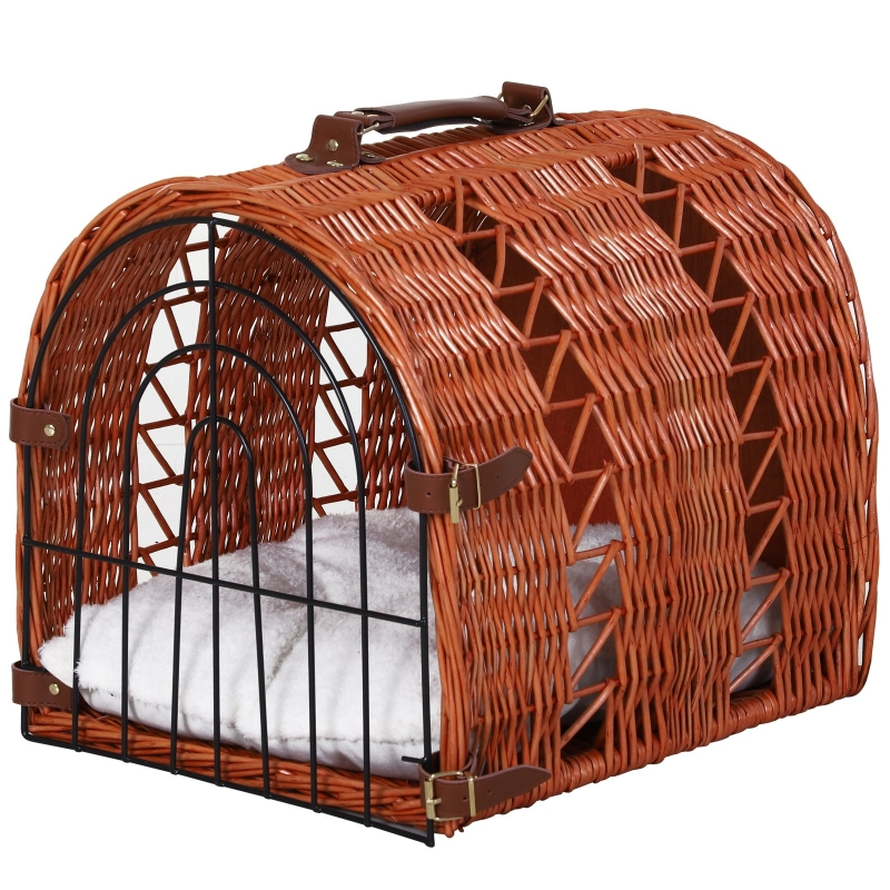 Kattenbed met kussen kattenmand transportbox met handgrepen, wilgentenen bruin