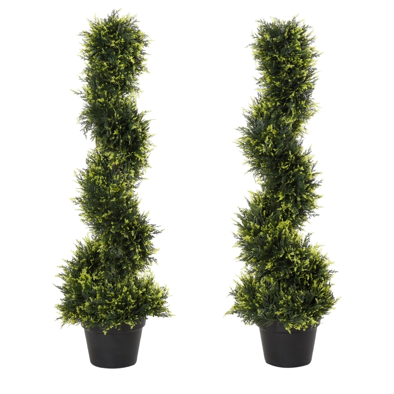 Outsunny Set Of 2 90cm Artificial Spiral Topiary Trees w/ Pot Fake Indoor Outdoor Plant