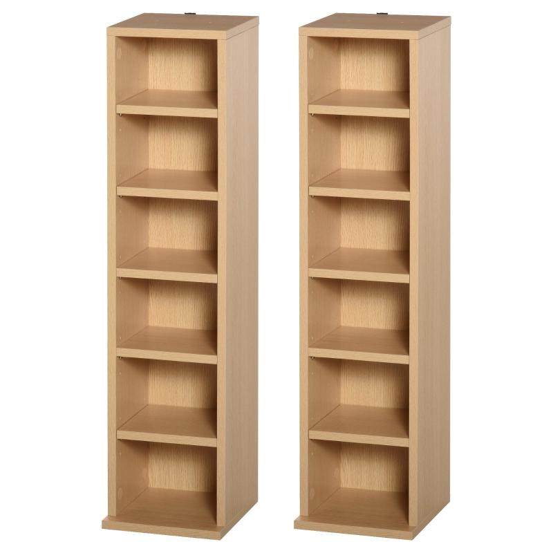 HOMCOM Set of 2 CD Media Display Shelf Unit Tower Rack w/ Adjustable Shelves Wood Color