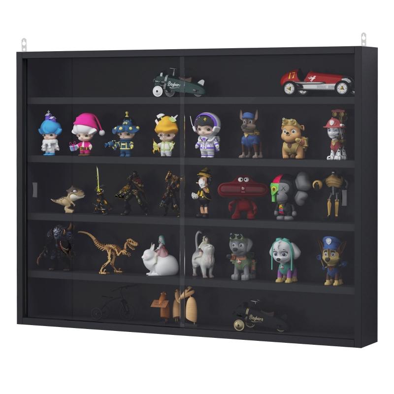 HOMCOM Particle Board 5-Tier Glass Door Display Cabinet Black