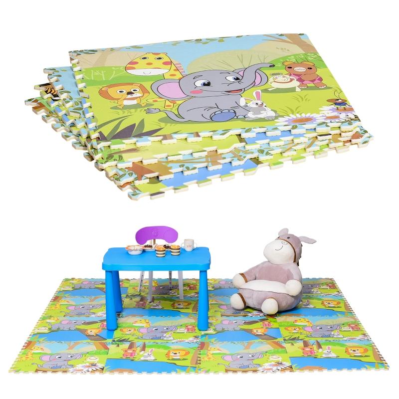 Puzzelmat kindertapijt opvouwbaar EVA kindersnoepjes patroon 61,5 x 61,5 cm
