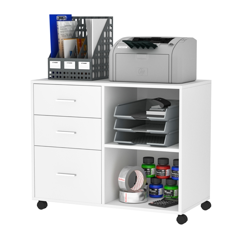 HOMCOM Particle Board Rolling Storage Cabinet White