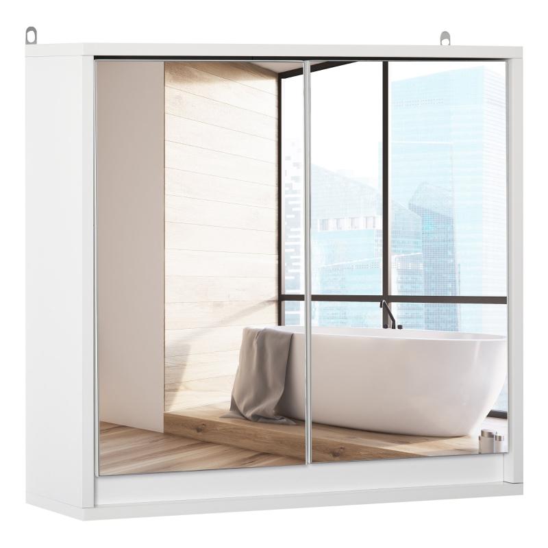 HOMCOM Wall Mount Mirror Cabinet Storage Bathroom Cupboard w/ Door and Shelves White