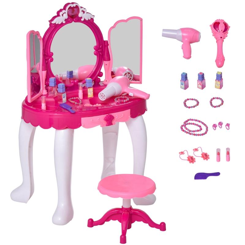 HOMCOM Kids Pretend Play Plastic Vanity Table Set w/ Sound Effect Pink