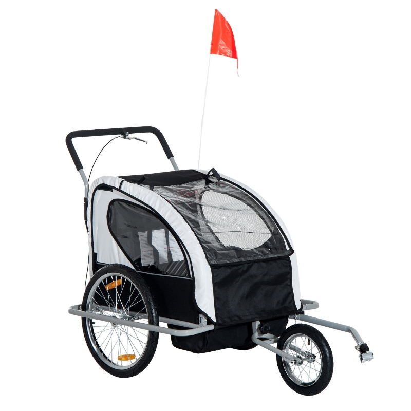 HOMCOM 2 in 1 Child Bike Carrier, 2-Seater-Grey