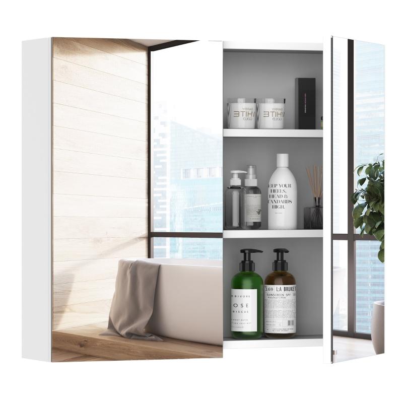 HOMCOM Wall Mount Mirror Cabinet Storage Bathroom Cupboard w/ Double Door and Shelves