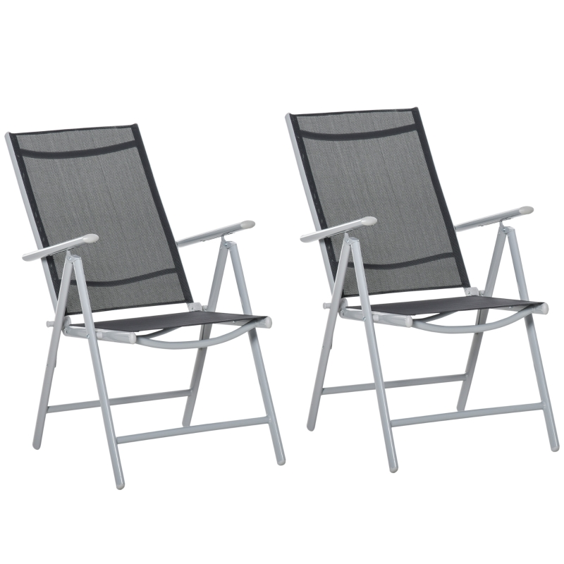 Outsunny 2 PCS Folding Patio Dining Chair Set w/ Adjustable Texteline Back & Armrest