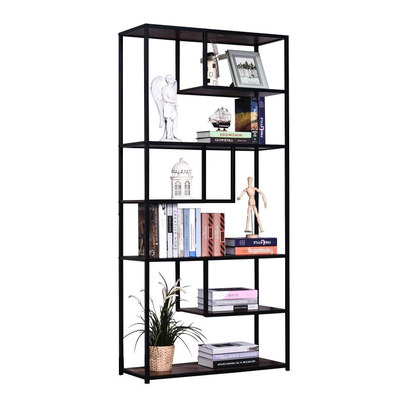 HOMCOM® Bücherregal, Aktenregal, Stabil, Spanplatte Braun 82 x 33,5 x 175 cm