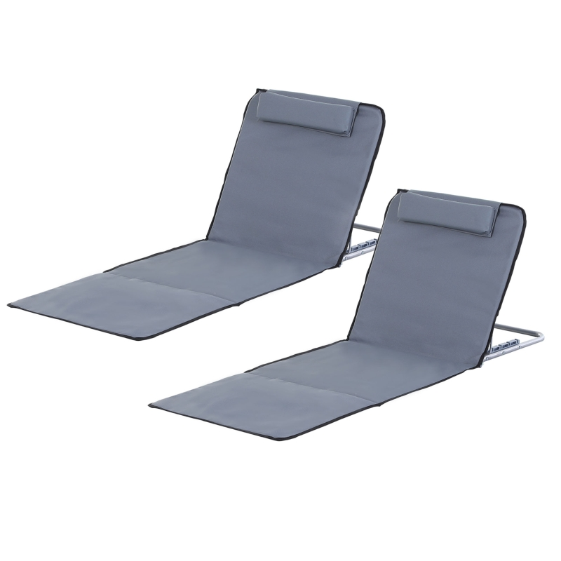 Outsunny Steel Frame Set of Two Reclining Beach Mats Grey