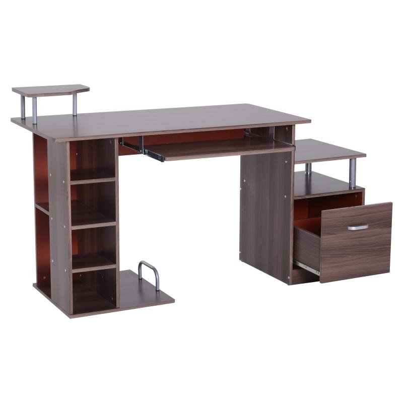 Computertafel bureau kantoortafel PC-tafel werktafel hout bruin