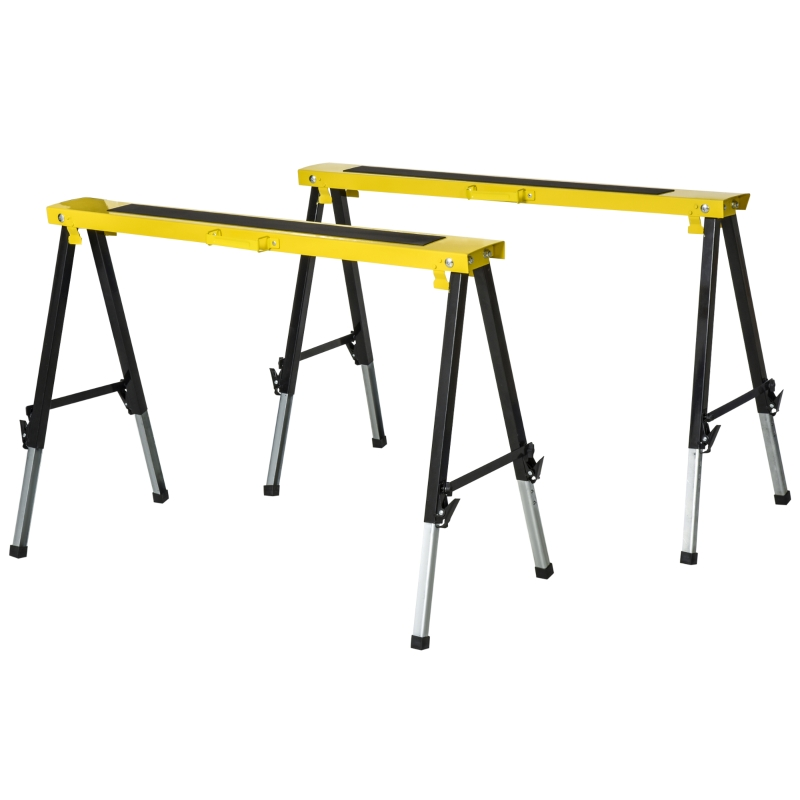 DURHAND Steel Set-of-2 Foldable Saw Horses Yellow