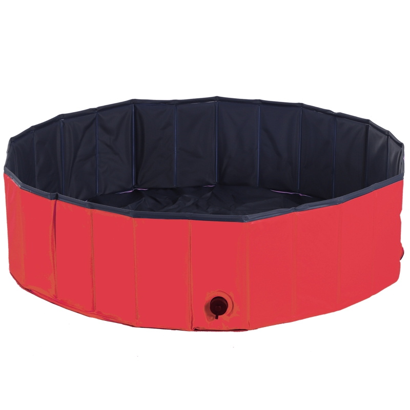 PawHut Pet Swimming Pool, Foldable, 120 cm Diameter-Red