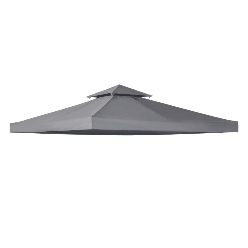 Outsunny 3(m) Gazebo Top Cover Double Tier Canopy Replacement Pavilion Roof Deep Grey