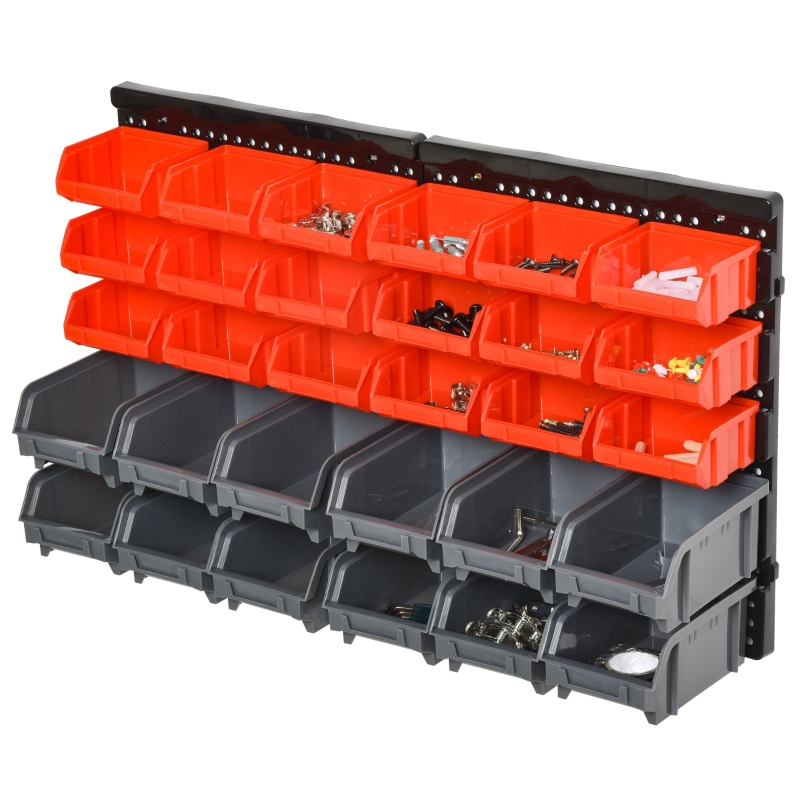 DURHAND PP Wall Mounted 30-Compartment Tool Hardware Organiser Red/Grey