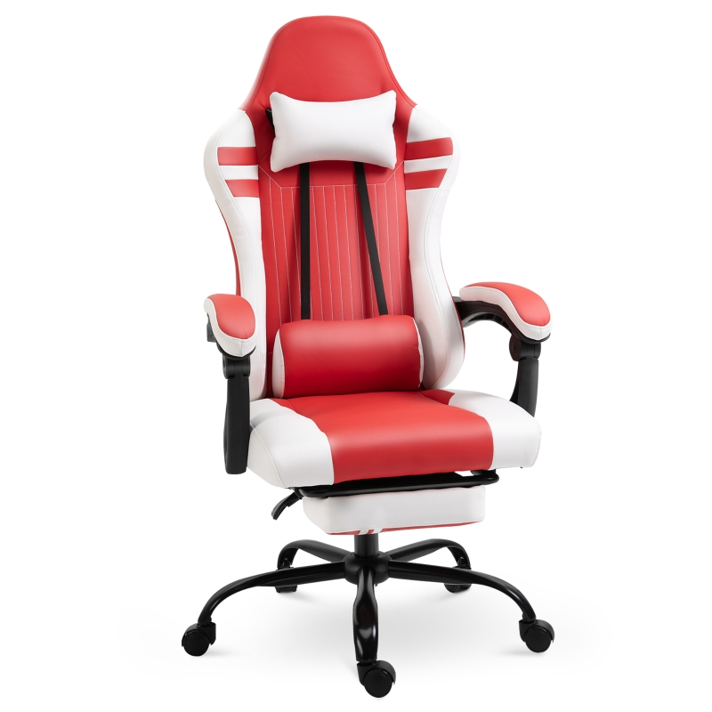 Vinsetto PU Leather Ergonomic Reclining Gaming Chair w/ Retractable Footrest Red/White