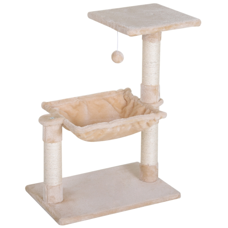 PawHut Cat Tree Hammock Bed Natural Sisal Scratching Post w/ Dangle Toy 2 Tier 70cm Pet Scratch Stand