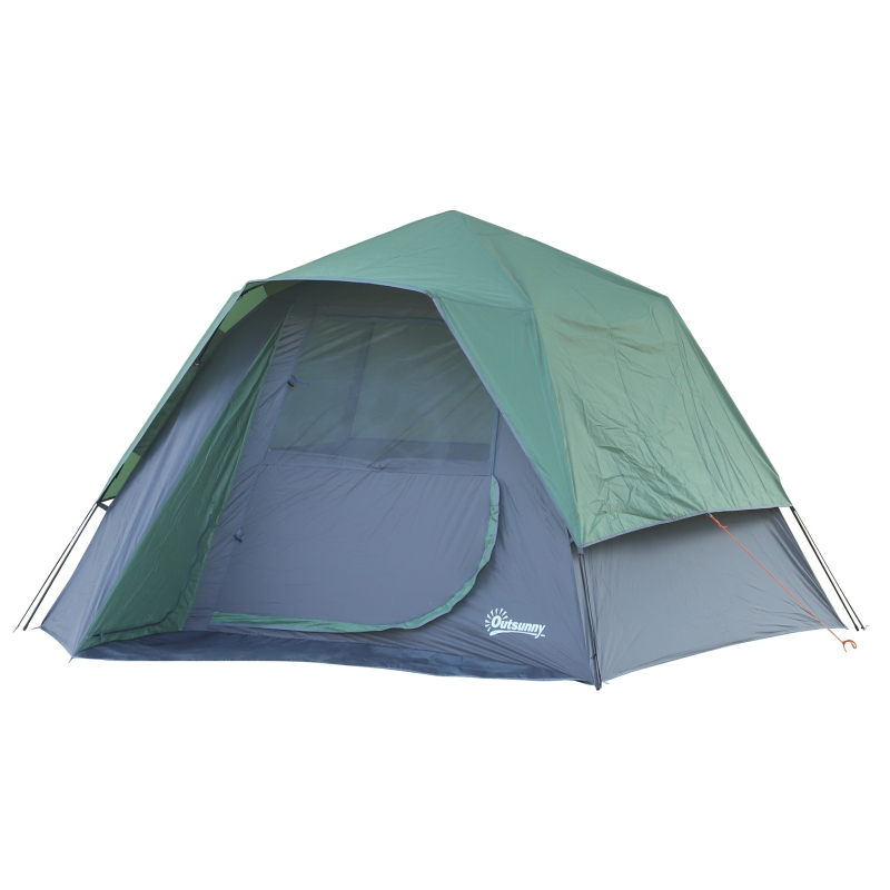 Outsunny Fibreglass Frame 3/4 Person Lightweight Camping Tent Green