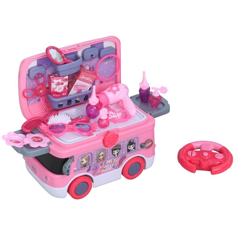 HOMCOM Kinder Schminkset Spielzeug Kosmetikkoffer Rollenspiel mit R/C Bus Musik&Licht für 3-9 Jahre mit 26 Zubehören Rosa 40,2 x 22,8 x 28,8 cm