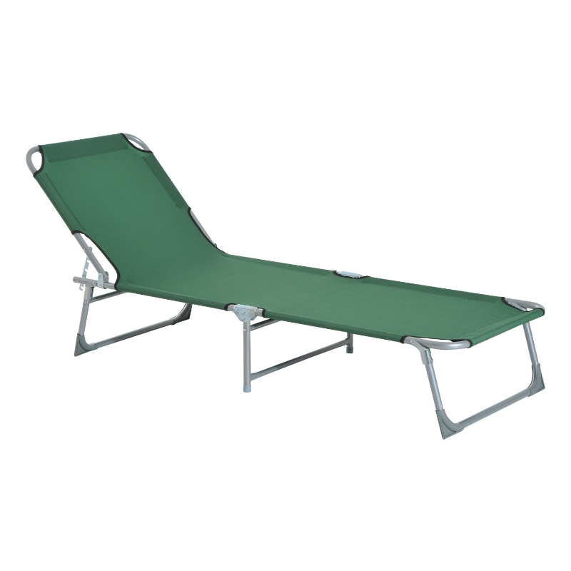 Outsunny Portable Adjustable Lounger,Oxford Cloth-Green