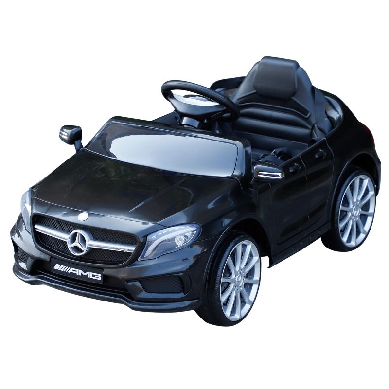 HOMCOM 6V Licensed Mercedes Benz Kids Ride On Car Headlight Music Remote Control Black