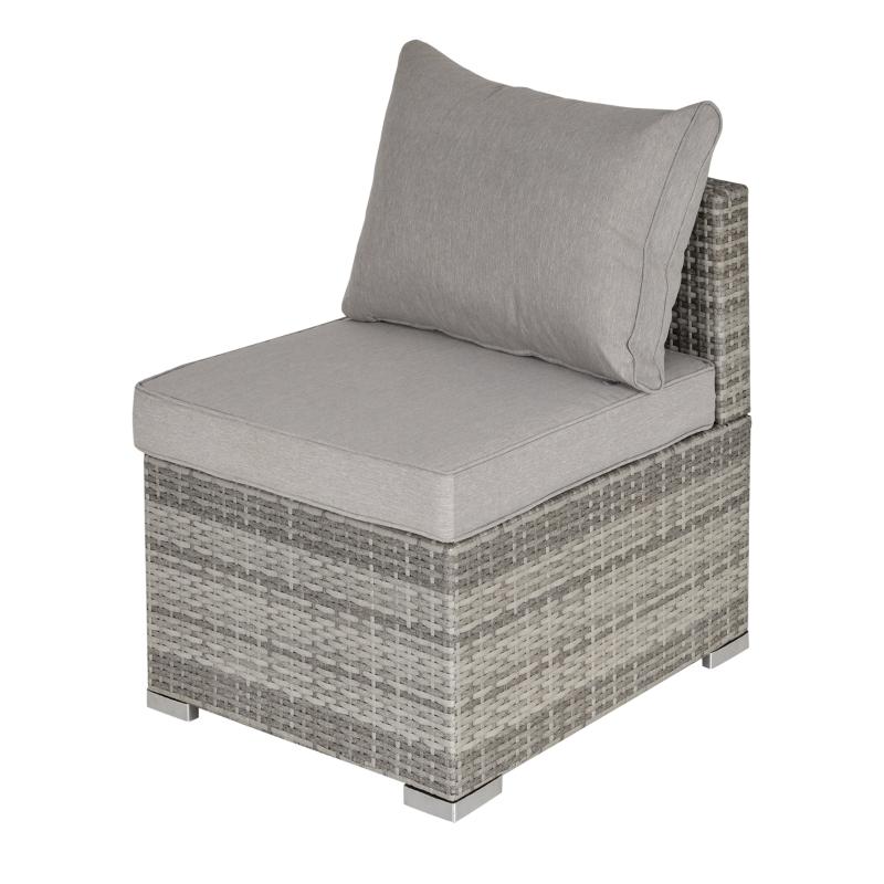 Outsunny Outdoor Garden Furniture Rattan Single Sofa w/ Cushions Light Grey