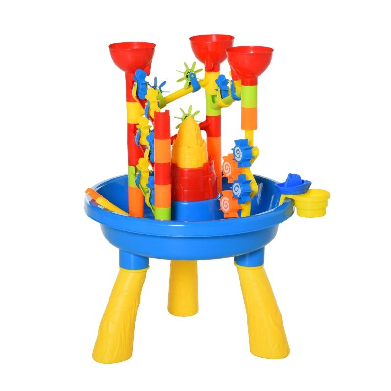 HOMCOM Water Table 30 pcs Waterpark Beach Toy Set Outdoor Sand Activities Playset