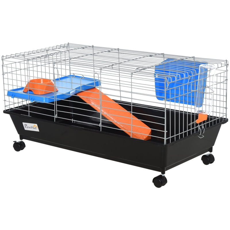PawHut Steel Small 2-Tier Small Animal Cage w/ Accessories Blue/Orange
