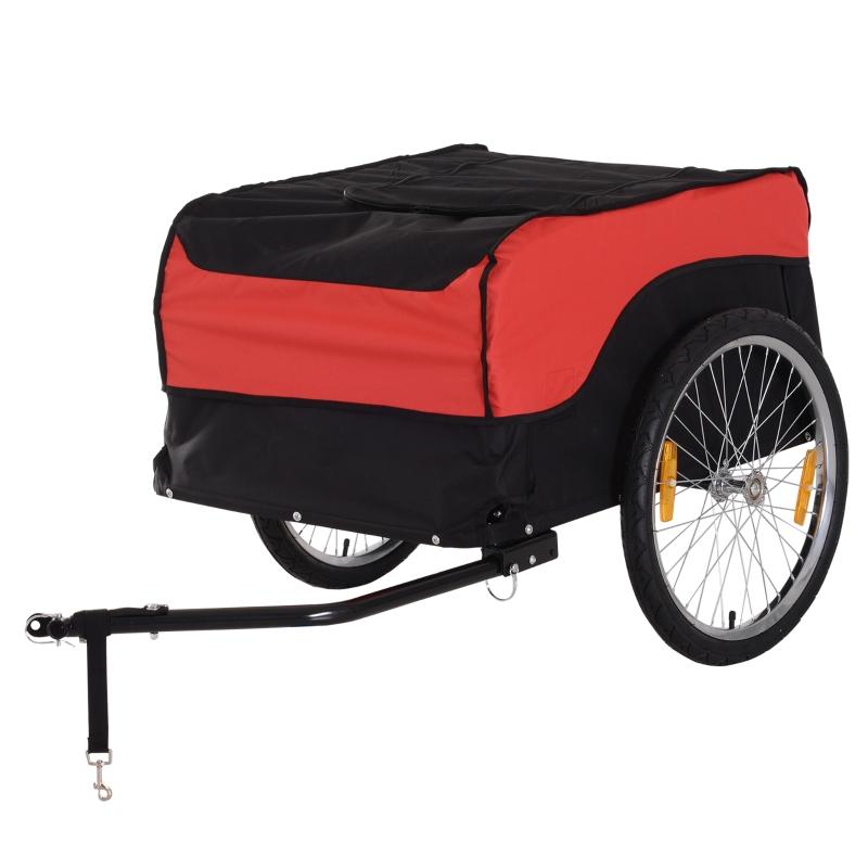 20 inch aanhangwagen transportaanhanger fietsaanhanger rood / zwart