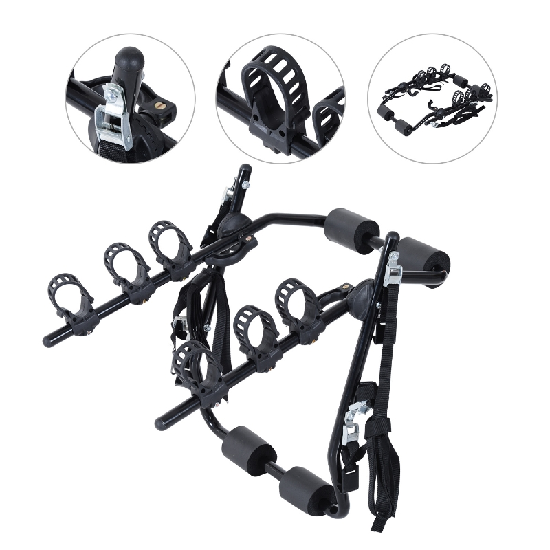HOMCOM Metal 3 Bike Rear Hitch Mount w/ Fix Strap Black