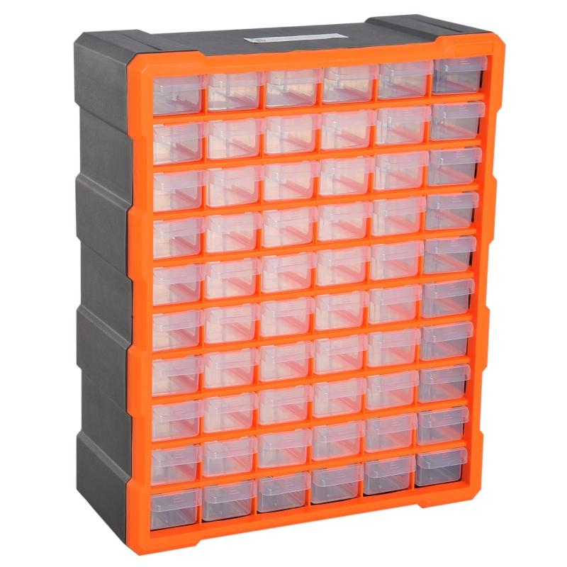 sorteerbox 60 vakken magazijn voor kleine onderdelen onderdelendoos bewaardoos oranje