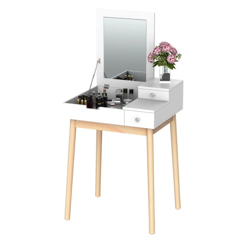 HOMCOM 2 in 1 Dressing Table with Flip-up Mirror, MDF, Pine-White