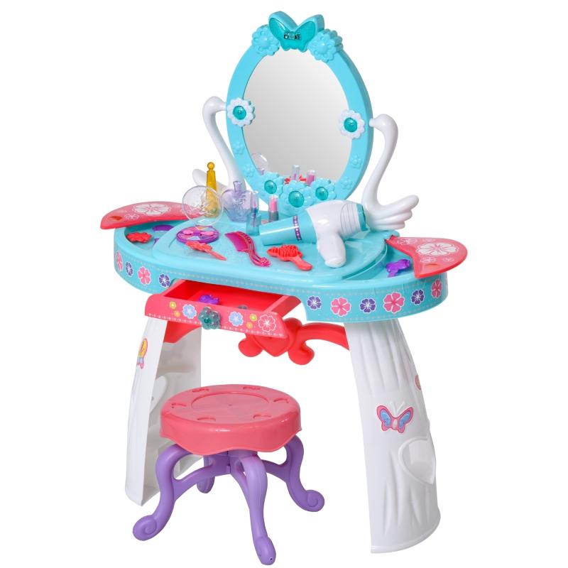HOMCOM kinderkaptafel kaptafel 5 muziekstukken infrarood sensor blauw