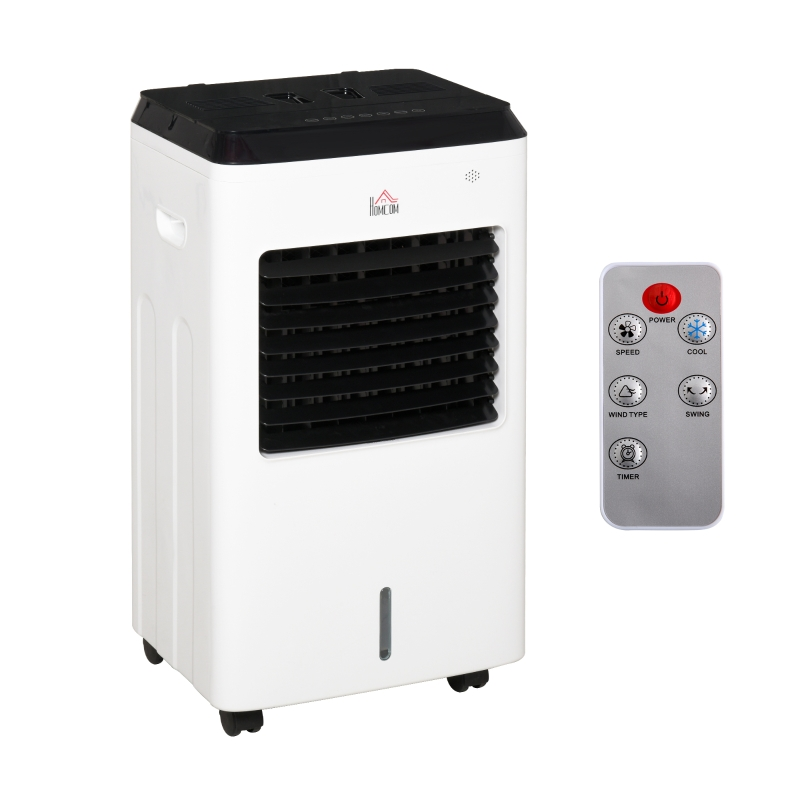 HOMCOM Air Cooler Heater with Ice Box 9 Settings Remote Controller for Home Office