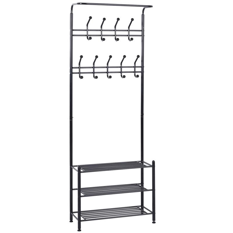 HOMCOM 18 Hook Metal Frame Hallway Coat Hanger w/ 3 Tier Shoe Storage Black