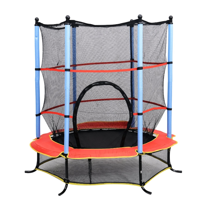 "HOMCOM 55"" Junior Kids Trampoline With Safety Net Enclosure & Cover Garden Outdoors Round Bouncer Rebounder - Black/Red/Blue"