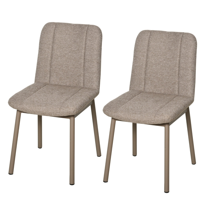 HOMCOM 2 Pieces Armless Dining Chair with Metal Leg Sponge Padding for Home Office