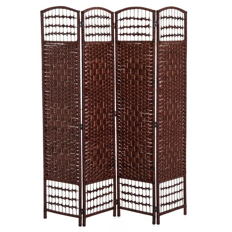 HOMCOM roomdivider kamerscherm Spaanse wand 4-delig 160x170 cm bamboe + hout bruin