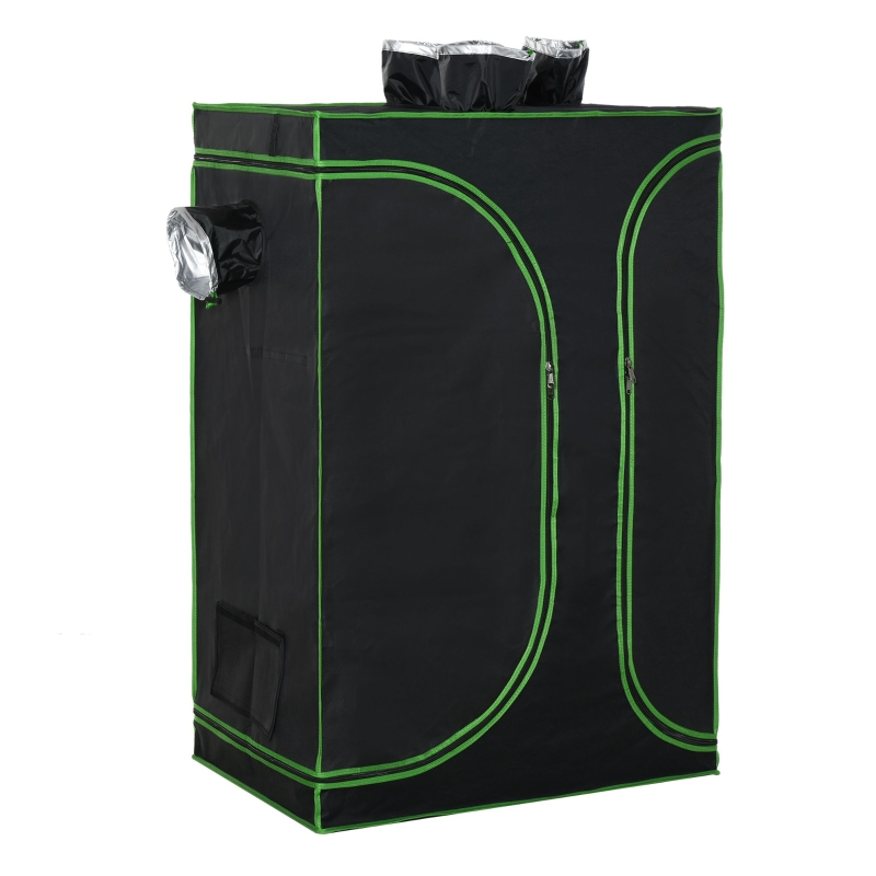 Outsunny Mylar Hydroponic Grow Tent with Vents and Floor Tray for Indoor Plant Growing