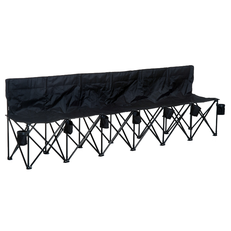Outsunny 6 Seater Folding Sports Bench Outdoor Picnic Camping Portable Chair w/Cup Holder & Carry Bag - Black