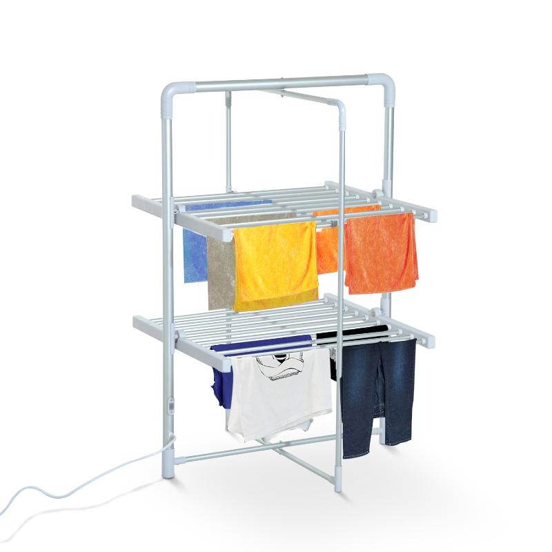 Elektrisch verwarmd wasrek droogrek hoog droogrek 2 niveaus zilver