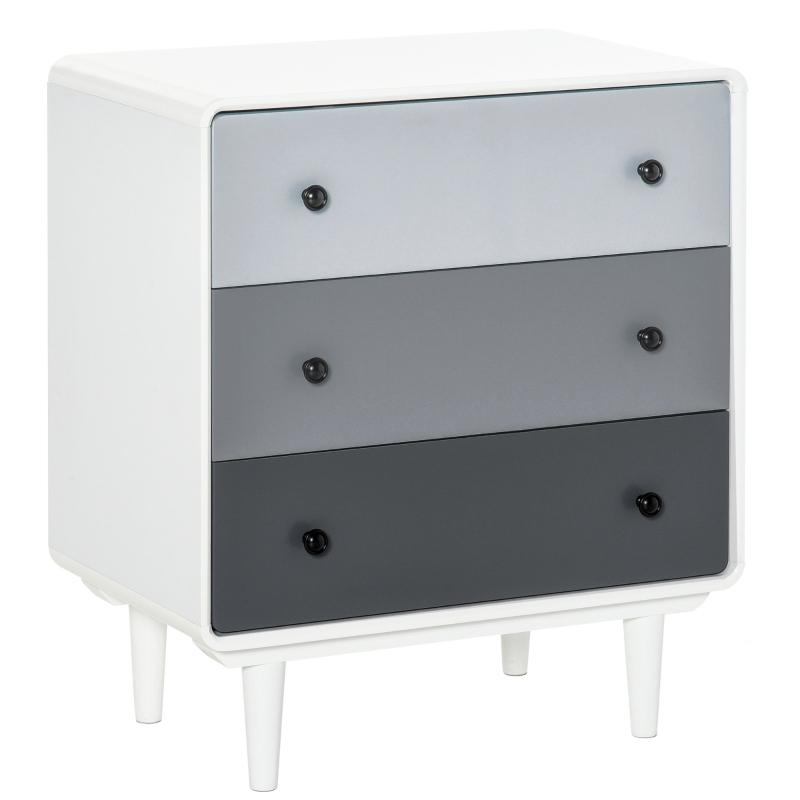 HOMCOM Nordic Side Cabinet Home Organizer w/ 3 Storage Drawer for Bedroom, Living Room