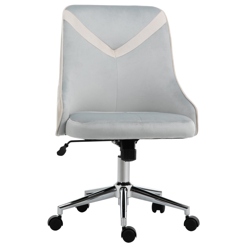 Vinsetto Leisure Chair Velvet-Feel Fabric Computer Home Bedroom Armless Rocking w/ Wheels